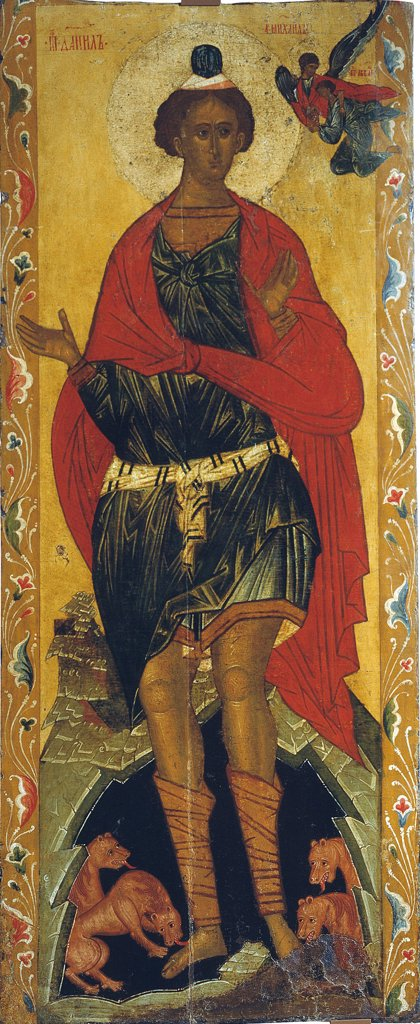 Stock Photo: 4266-2848 Russian icon with prophet Daniel by unknown painter, tempera on panel, 16th century, Novgorod School, Russia, Novgorod, State Open-air Museum of History and Architecture Novgorodian Kremlin, 158x83