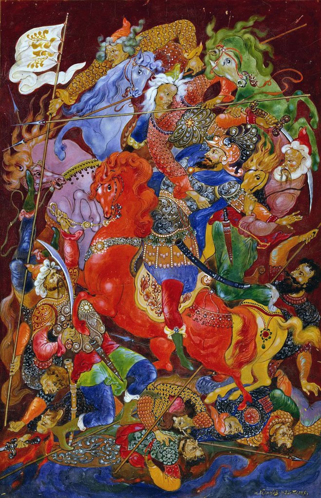 Stock Photo: 4266-2859 Battlefield by Ivan Ivanovich Golikov, gouache and tempera on paper, 1932-1933, 1886-1937, School of Palekh, Russia, Palekh, Museum of Palekh Russian Lacquer Art