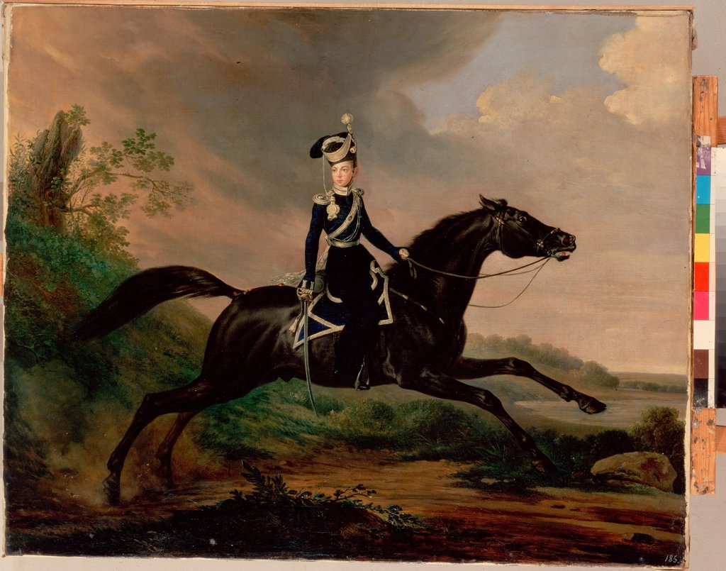 Stock Photo: 4266-2894 Tsar Alexander II on horse by Franz Kruger, oil on canvas, 1832, 1797-1857, Russia, St. Petersburg, State Hermitage, 78x96
