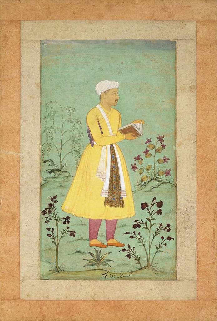 Stock Photo: 4266-2992 Man reading book by Manohar, tempera on paper, 16th century, 17th century, State Hermitage, St. Petersburg, 31, 4x20, 5