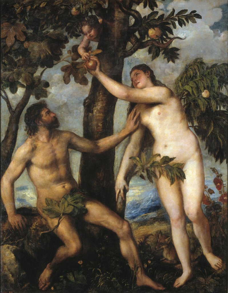 Stock Photo: 4266-29972 Adam and Eve by Titian (1488-1576) / Museo del Prado, Madrid / c. 1550 / Italy, Venetian School / Oil on canvas / Bible / 240x186