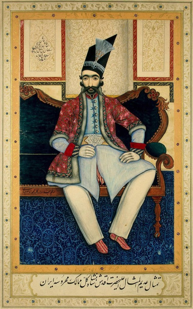 Stock Photo: 4266-3002 Portrait by Muhammad Isfahani, gouache, gold and silver on cardboard, 1850s, Russia, St. Petersburg, State Hermitage, 32, 5x20, 6