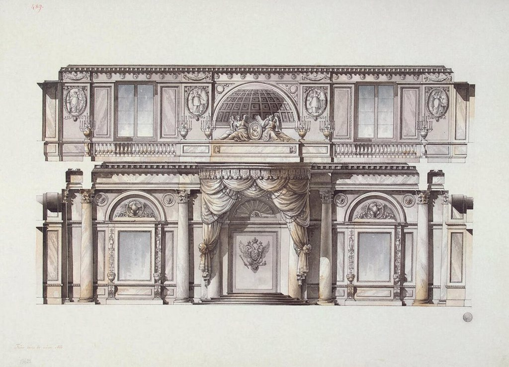 Stock Photo: 4266-3014 Winter Palace by Giacomo Antonio Domenico Quarenghi, watercolour and ink on paper, 1796, 1744-1817, Russia, St. Petersburg, State Hermitage, 45, 3x61, 5