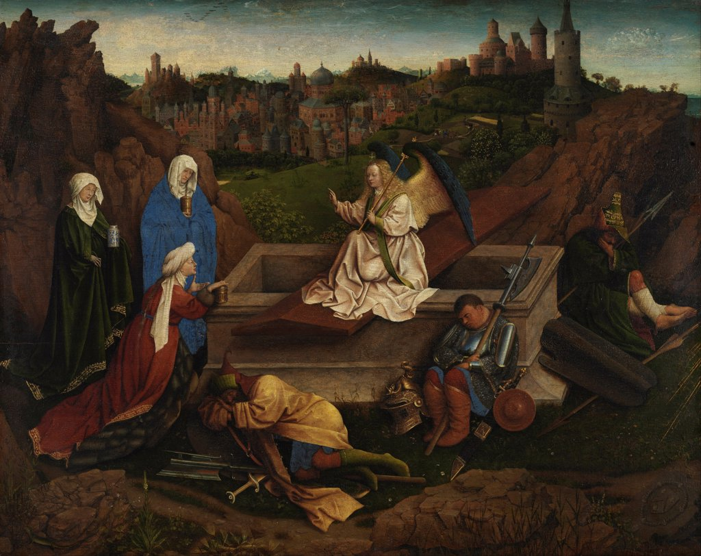 Stock Photo: 4266-30483 The Three Marys at the Sepulchre by Eyck, Hubert (Huybrecht), van (ca 1370-1426) / Museum Boijmans Van Beuningen, Rotterdam / c. 1440 / The Netherlands / Tempera on panel / Bible / 71,5x89 / Early Netherlandish Art