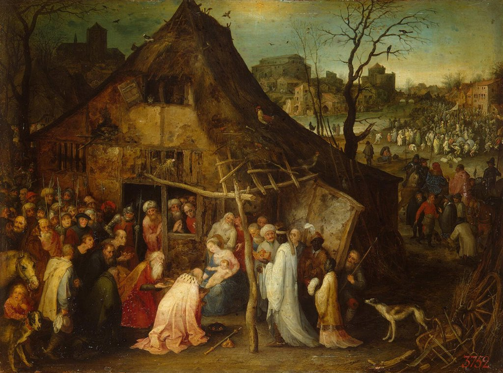 Birth of Jesus Christ by Jan Brueghel the Elder, oil on copper, circa 1600, 1568-1625, Russia, St. Petersburg, State Hermitage, 26, 5x35, 2 : Stock Photo