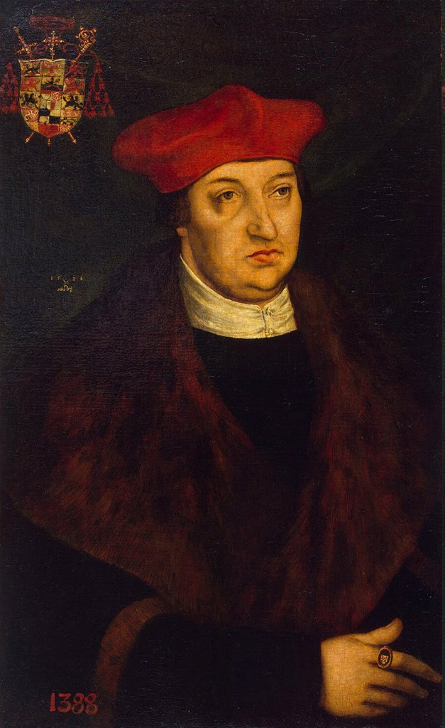 Portrait of Archbishop of Magdeburg by Lucas Cranach the Elder, oil on canvas, 1526, 1472-1553, Russia, St. Petersburg, State Hermitage, 40x24, 5 : Stock Photo