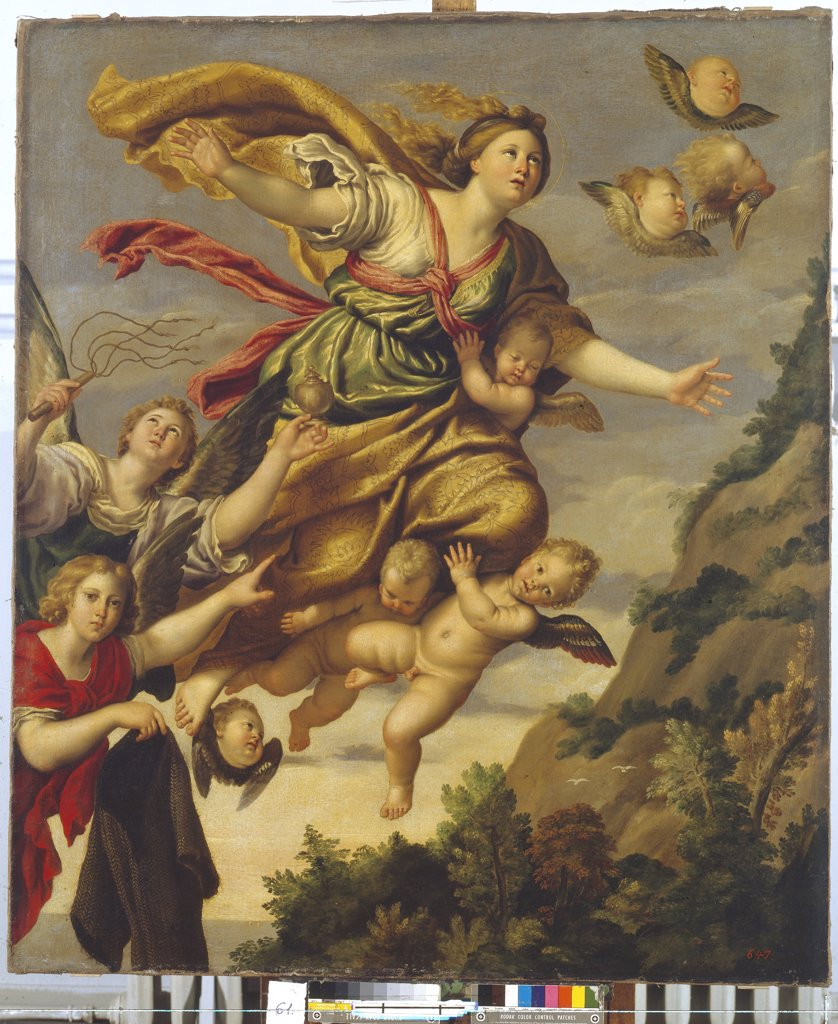 Stock Photo: 4266-3088 Mary Magdalene with angels by Domenichino, oil on canvas, circa 1620, 1581-1641, Russia, St. Petersburg, State Hermitage, 129x110