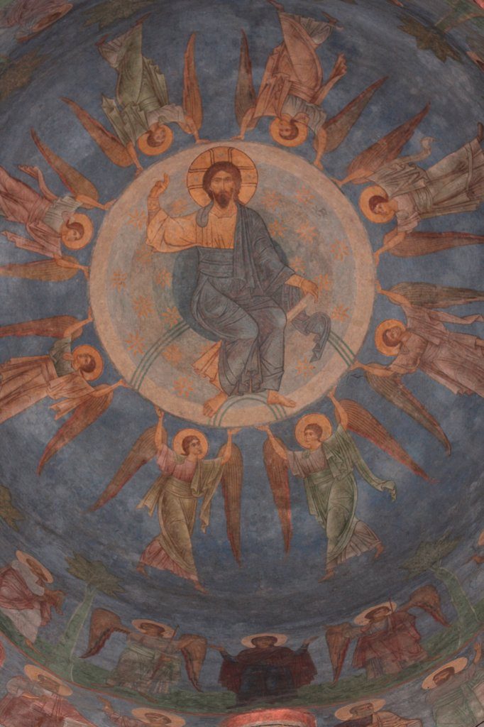 Stock Photo: 4266-30927 The Ascension of Christ by Ancient Russian frescos   / Mirozhsky Monastery, Pskov / 12th century / Russia, Pskov School / Fresco / Bible / Old Russian Art