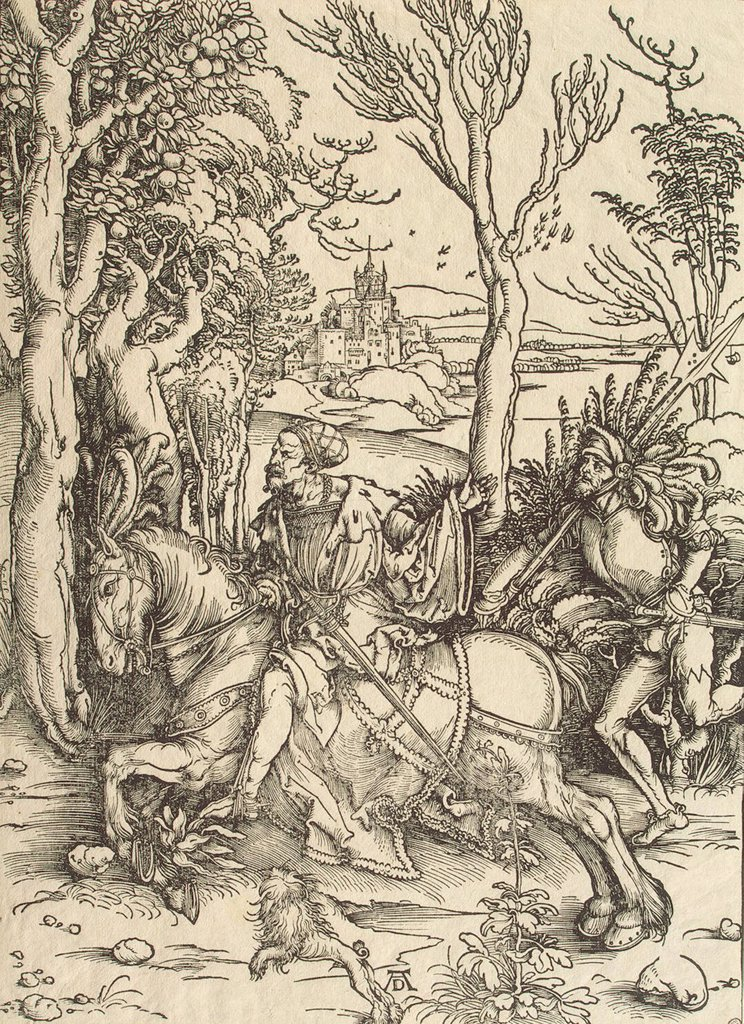 Stock Photo: 4266-3094 Man riding on horse by Albrecht Durer, woodcut, circa1497, 1471-1528, Russia, St. Petersburg, State Hermitage, 39x28, 2