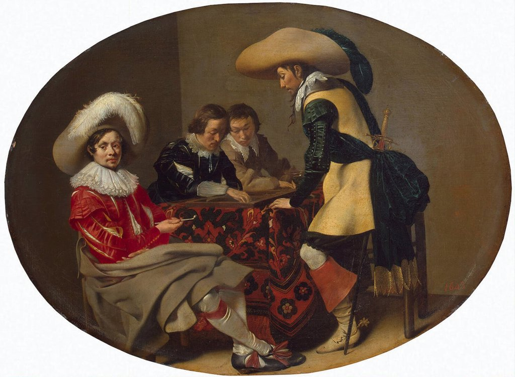 Stock Photo: 4266-3095 Playing men by Willem Cornelisz Duyster, oil on wood, circa 1630, 1599-1635, Russia, St. Petersburg, State Hermitage, 31, 5x42, 5