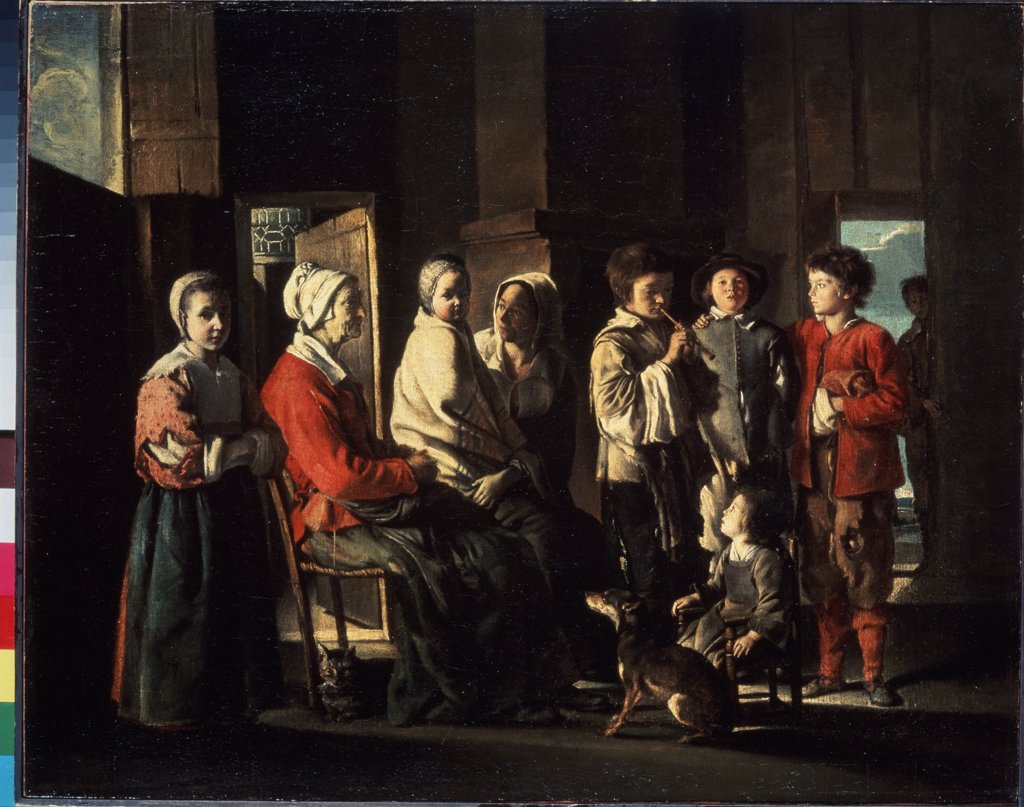 Stock Photo: 4266-3133 Family scene by Le Nain, oil on canvas, 1645, 1593-1648, Russia, St. Petersburg State Hermitage, 58x73