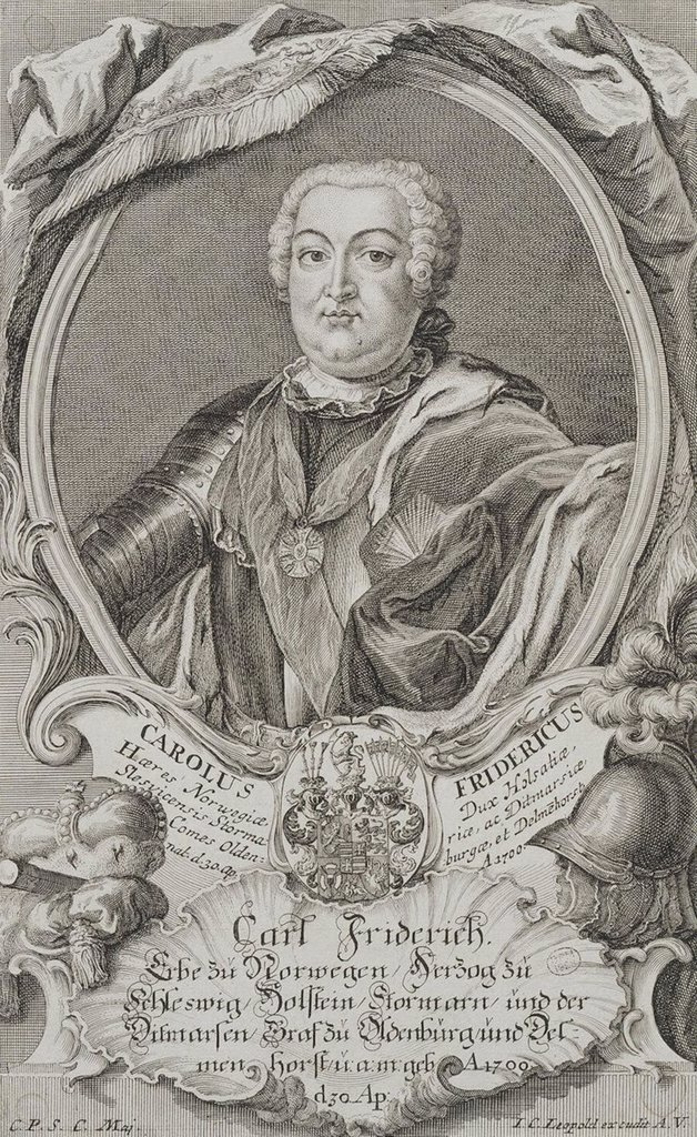 Stock Photo: 4266-3162 Portrait of Charles Frederick of Holstein-Gottorp by Johann Christian Leopold, Copper engraving, Mid of the 18th century, 1699-1755, Russia, St. Petersburg, State Hermitage, 23, 7x17, 9