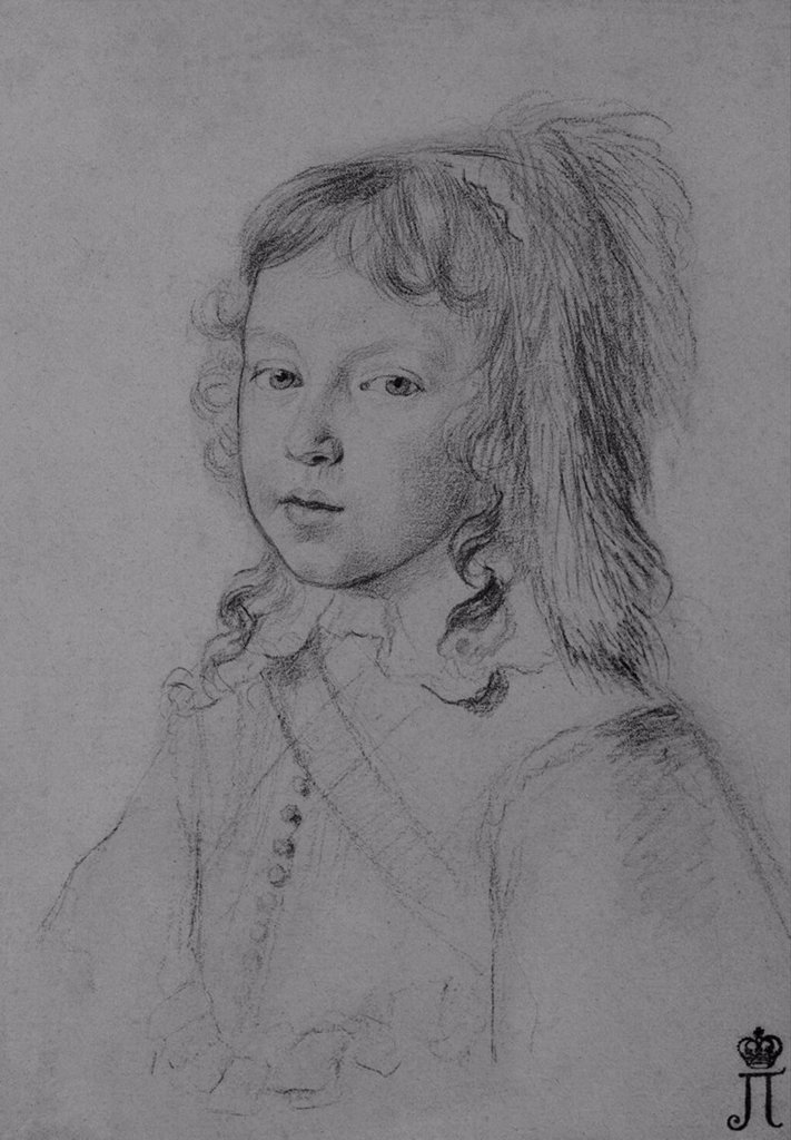 Stock Photo: 4266-3194 Portrait of Louis XIV as a child by Claude Mellan, Black chalk on paper, 1644, 1598-1688, Russia, St. Petersburg, State Hermitage, 21x15