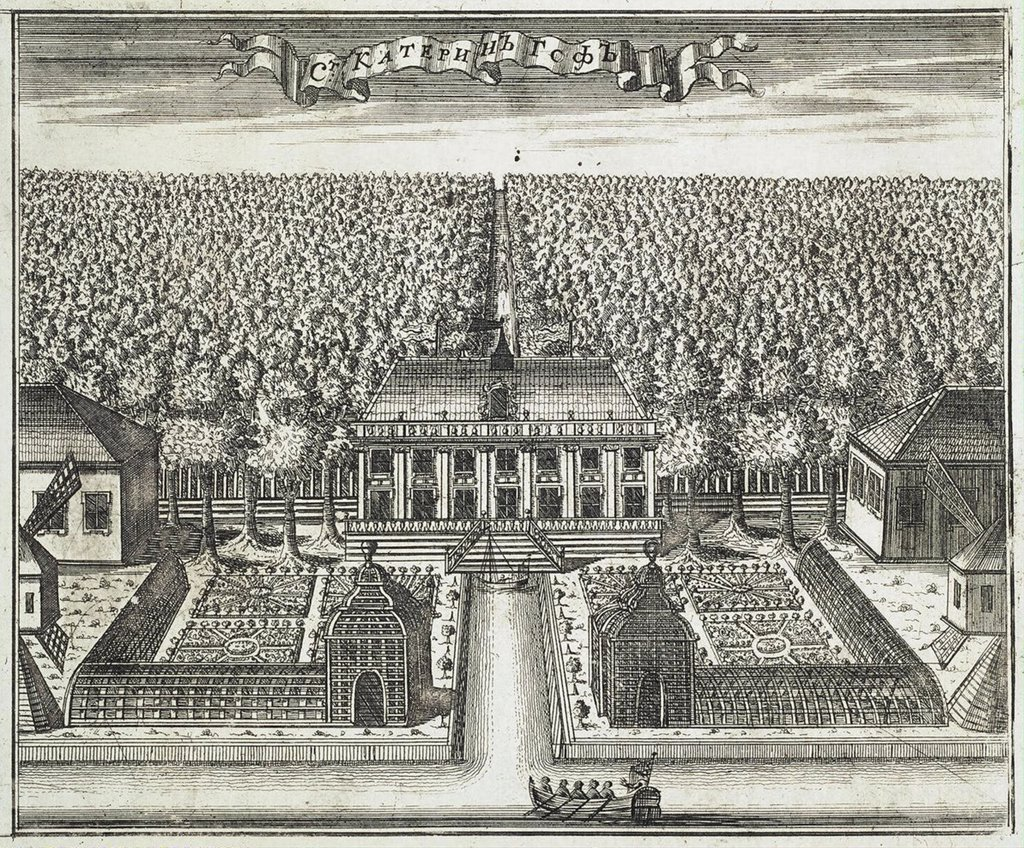 Stock Photo: 4266-3242 View of Catherinehof by Alexei Ivanovich Rostovtsev, copper engraving, 1717, 1670s-1730s, Russia, St. Petersburg, State Hermitage, 16, 5x20