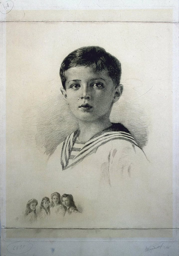 Stock Photo: 4266-3250 Portrait of Tsarevich Alexei Nikolaevich Romanov by Mikhail Viktorovich Rundaltsov, etching, 1915, 1871-1935, Russia, St. Petersburg, State Hermitage, 53x36, 2