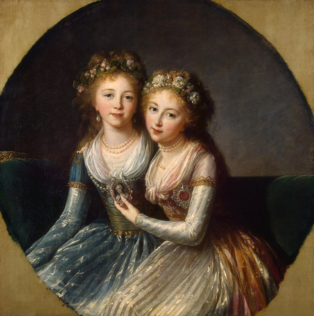 Portrait of Elena Pavlovna and Alexandra Pavlovna by Marie Louise Elisabeth Vigee-Lebrun, oil on canvas, 1796, 1755-1842, Russia, St. Petersburg, State Hermitage, 99x99 : Stock Photo