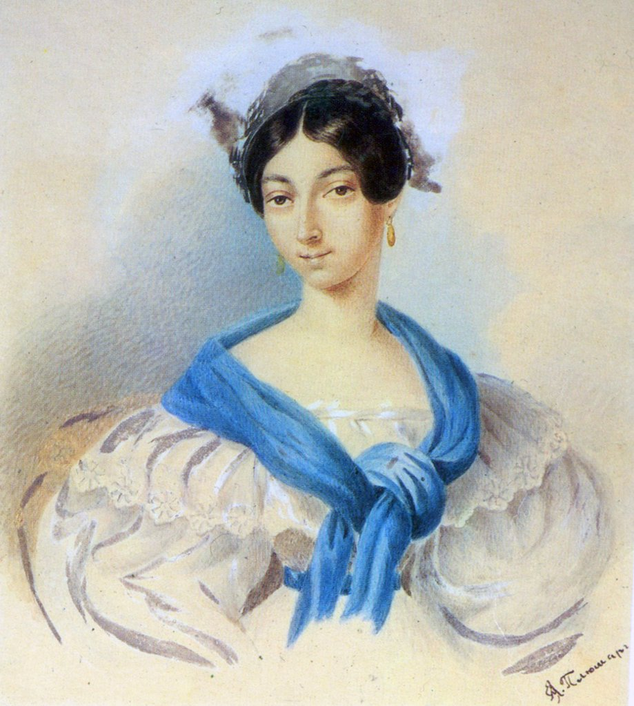 Portrait of Olga Pushkina by Eugene Pluchart, Watercolour on paper, 183, 1809-1880, Russia, St Petersburg, Institute of Russian Literature IRLI (Pushkin-House), : Stock Photo