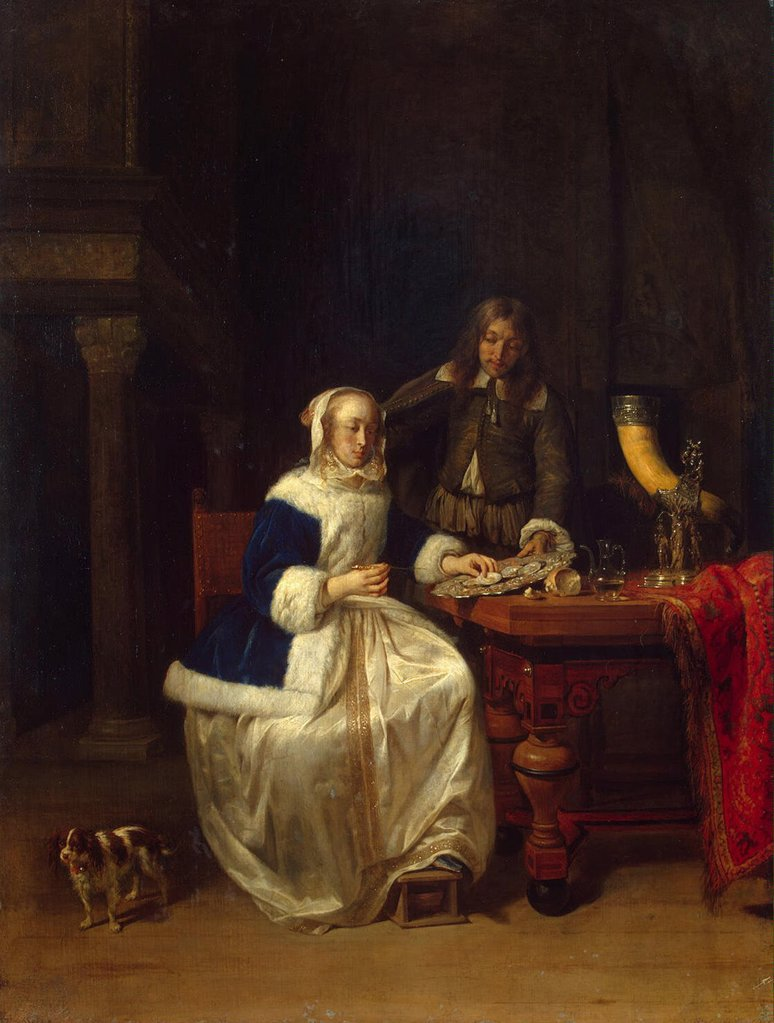 Stock Photo: 4266-3579 Woman eating breakfast by Gabriel Metsu, Oil on wood, circa 1660, Baroque, 1629-1667, Russia, St. Petersburg, State Hermitage, 56x42