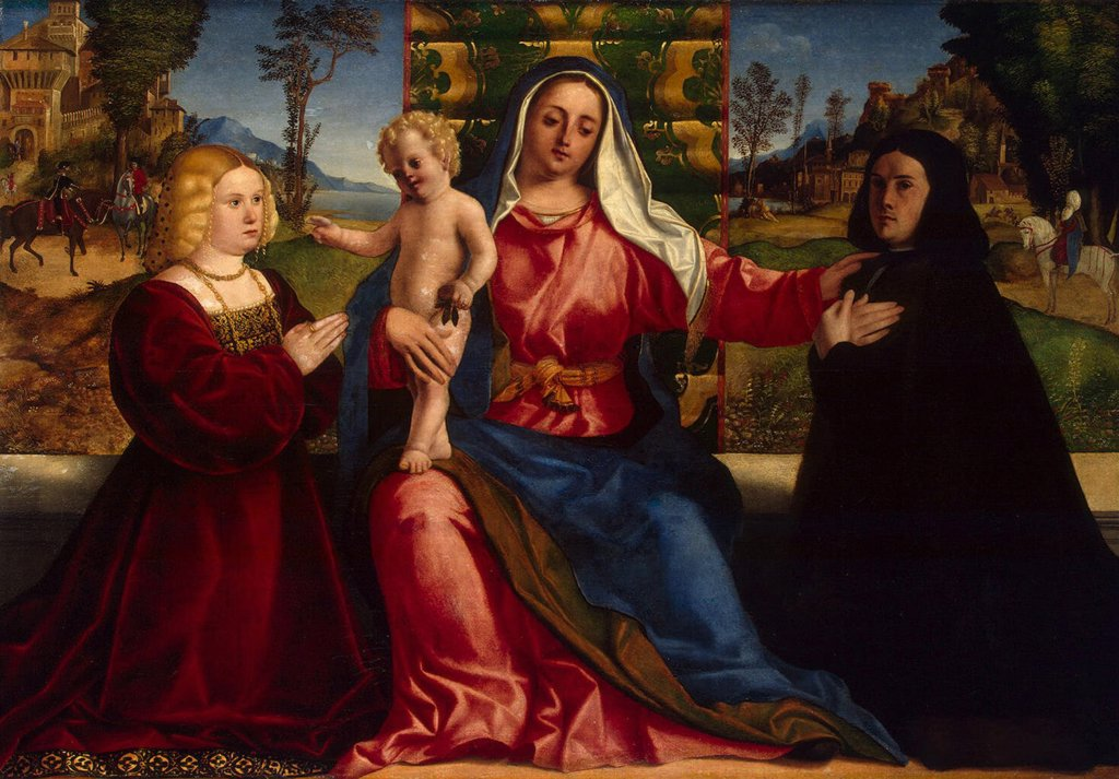 Virgin Mary holding Infant by Jacopo Palma il Vecchio the Elder, Oil on canvas, circa 1505, Renaissance, 1480-1528, Russia, St. Petersburg, State Hermitage, 120x173 : Stock Photo