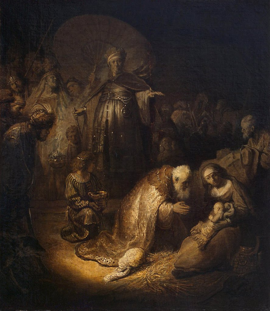 Stock Photo: 4266-3593 Adoration of the Christ Child by Rembrandt van Rhijn, Oil on paper, 1632, 1606-1669, Russia, St. Petersburg, State Hermitage, 45x39