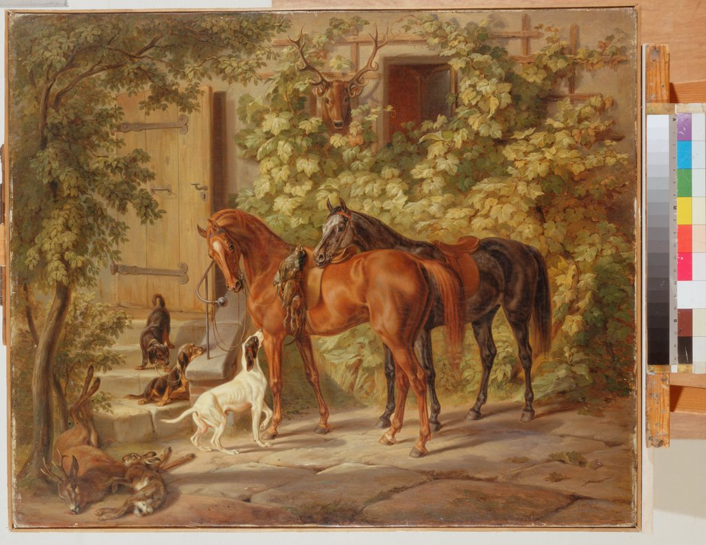 Stock Photo: 4266-3619 Horses at porch by Albrecht Adam, Oil on canvas, 1843, 1786-1862, Russia, St. Petersburg, State Hermitage, 75x90