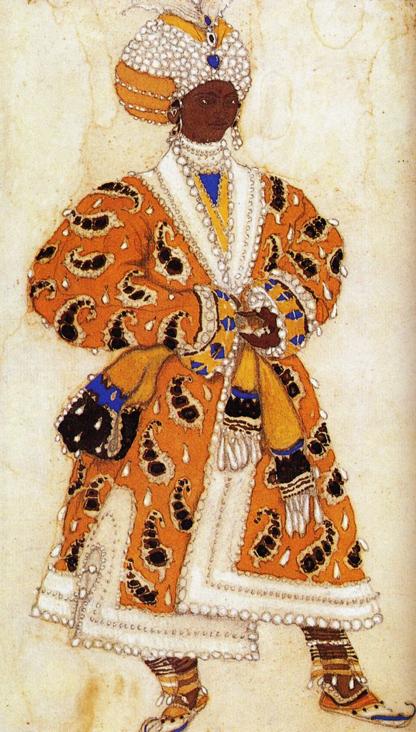Stock Photo: 4266-4039 Scene costume by Leon Bakst, colour lithograph, 1912, 1866-1924, Private Collection
