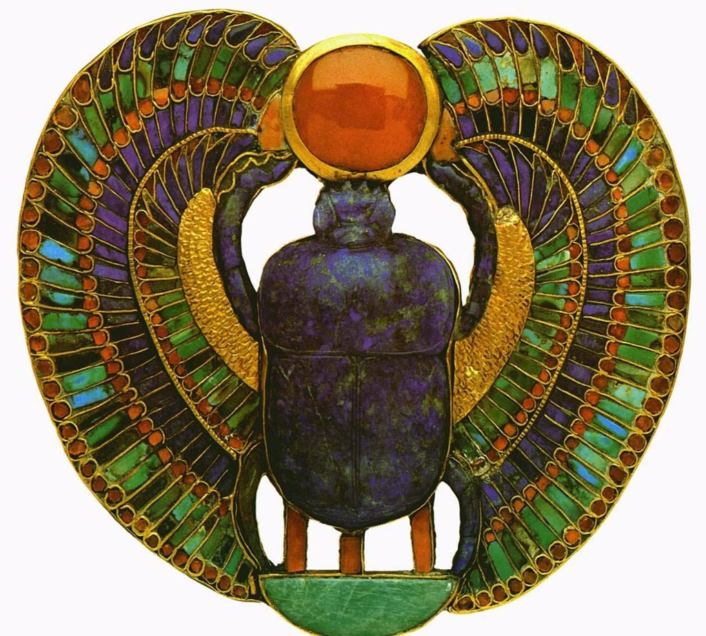 Scarab beetle, Gold, Turquoise, Turquoise, Feldspar, Lazurite, 14th century BC, Egypt, Cairo, The Egyptian Museum, : Stock Photo