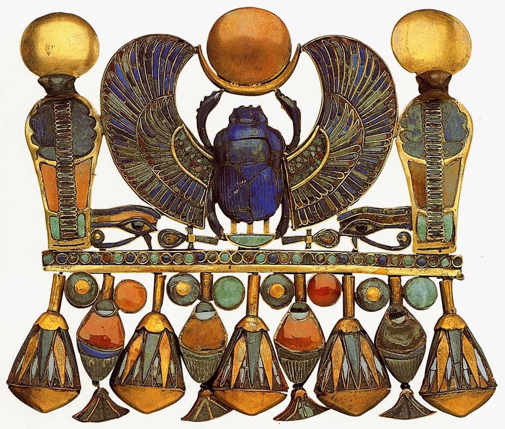 Fashion accessories, Gold, Carnelian Turquoise, Feldspar, Lazurite, 14th century BC, Egypt, Cairo, The Egyptian Museum, : Stock Photo