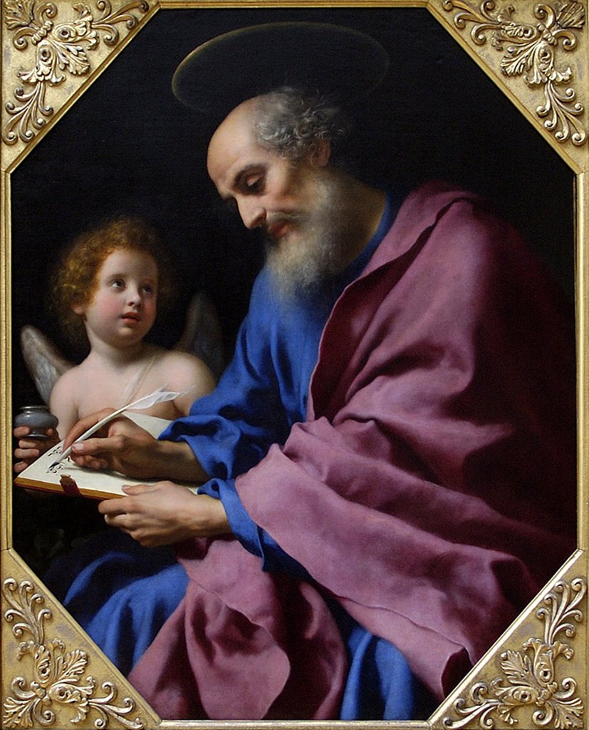 Stock Photo: 4266-4129 Illustration with Saint Matthew and angel by Carlo Dolci, oil on canvas, 1616-1686, 17th century, USA, Malibu, J. Paul Getty Villa 35x110