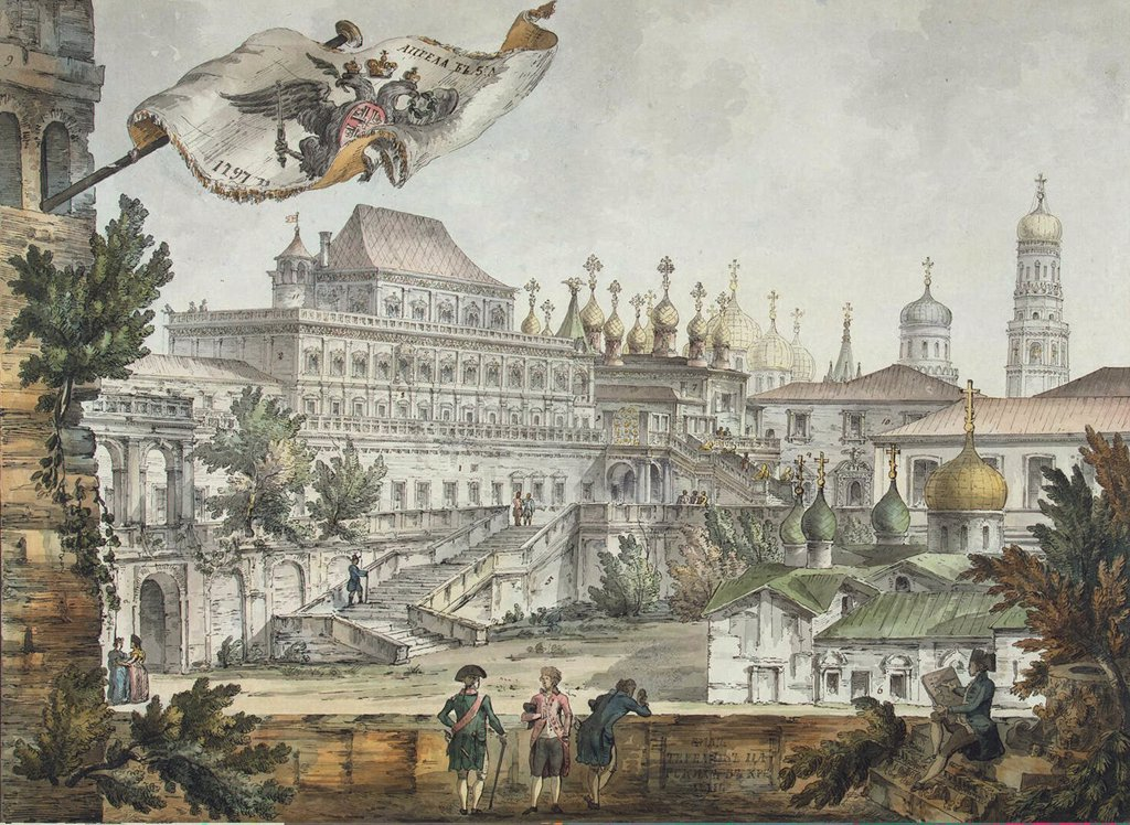 Stock Photo: 4266-4133 Townscape with churches by Giacomo Antonio Domenico Quarenghi, watercolor and ink on paper, 1797, 1744-1817, Russia, St. Petersburg, State Hermitage, 43, 2x57, 7