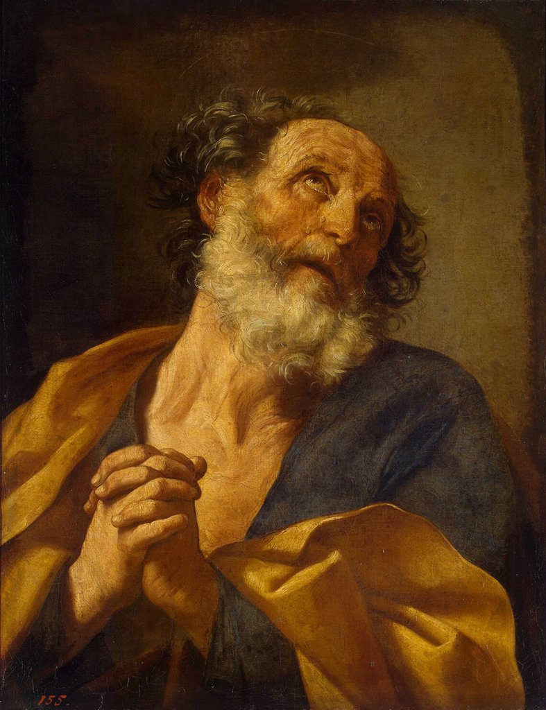 Illustration with Saint Peter by Guido Reni, oil on canvas, circa 1635, 1575-1642, Russia, St. Petersburg, State Hermitage, 73, 5x56, 5 : Stock Photo