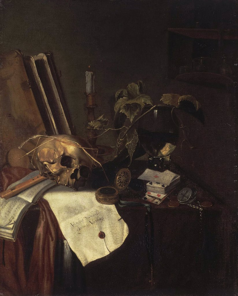 Stock Photo: 4266-4149 Still life with human skull by Pieter van Steenwyck, oil on canvas, between 1654 and 1691, circa 1615-after 1654, Russia, St. Petersburg, State Hermitage, 70, 5x65