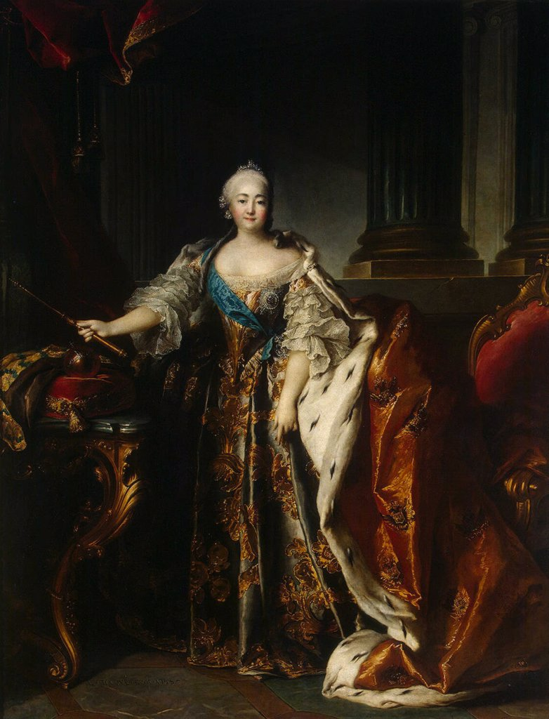 Stock Photo: 4266-4153 Portrait of empress Elisabeth Petrovna by Louis Tocque, oil on canvas, 1758, 1696-1772, Russia, St. Petersburg, State Hermitage, 262x204