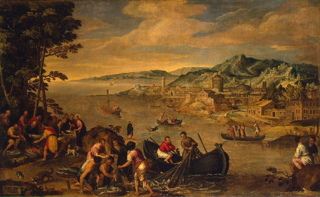 Stock Photo: 4266-4155 Miraculous catch of fish by Pozzoserrato, oil on canvas, circa 1580, 1550-1604/5, Russia, State Hermitage, St. Petersburg 84x156
