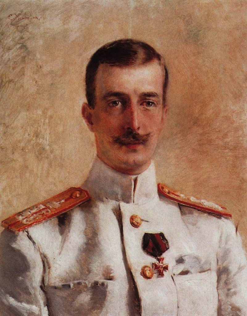 Stock Photo: 4266-4161 Portrait of Grand duke Cyril Vladimirovich by Konstantin Yegorovich Makovsky, oil on canvas, 1880s, 1839-1915, Private Collection, 60x49