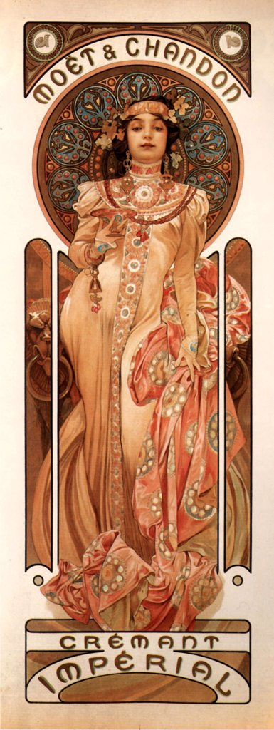Stock Photo: 4266-4189 Advertisement poster of champagne by Alfons Marie Mucha, colour lithograph, 1899, 1860-1939, Private Collection, 23x60, 8