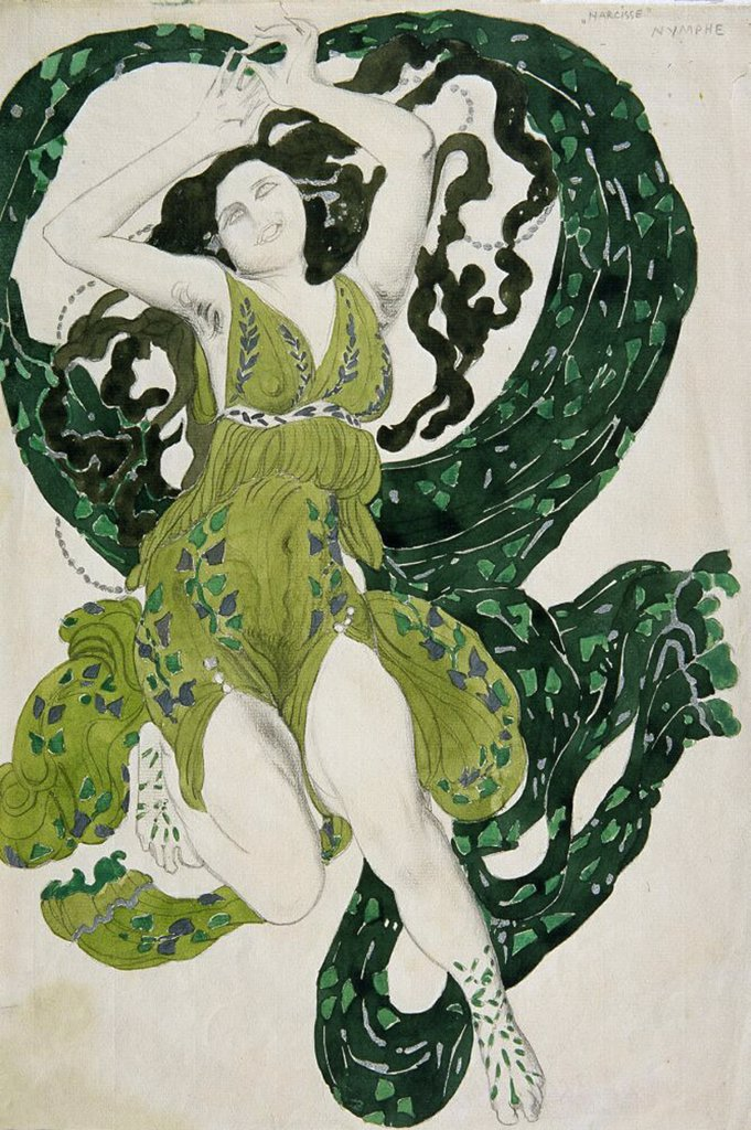 Stock Photo: 4266-4196 Ida Rubinstein wearing Cleopatre stage costume by Leon Bakst, pencil, watercolour, gouache, ink on paper, 1909, 1866-1924, Private Collection 28x21