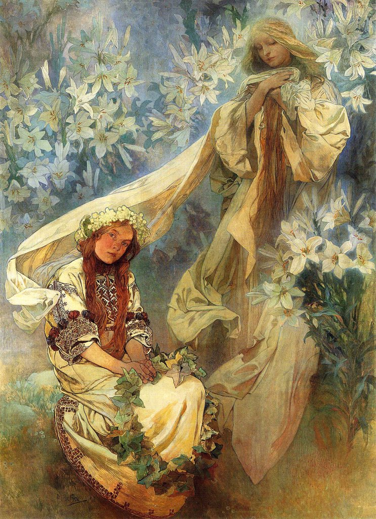 Stock Photo: 4266-4216 Two woman by Alfons Marie Mucha, Tempera on canvas, 1905, 1860-1939, Czech Republic, Prague, A. Mucha Museum, 247x182