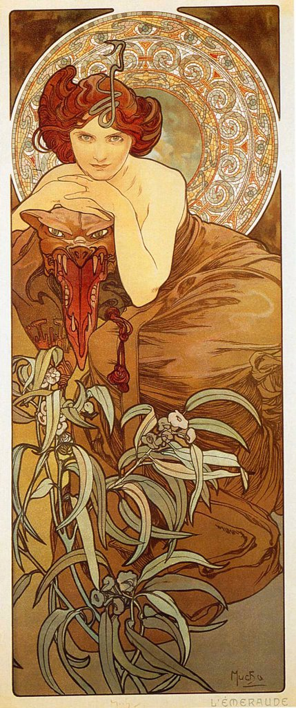 Young woman by Alfons Marie Mucha, Color lithograph, 1900, 1860-1939, Private Collection : Stock Photo