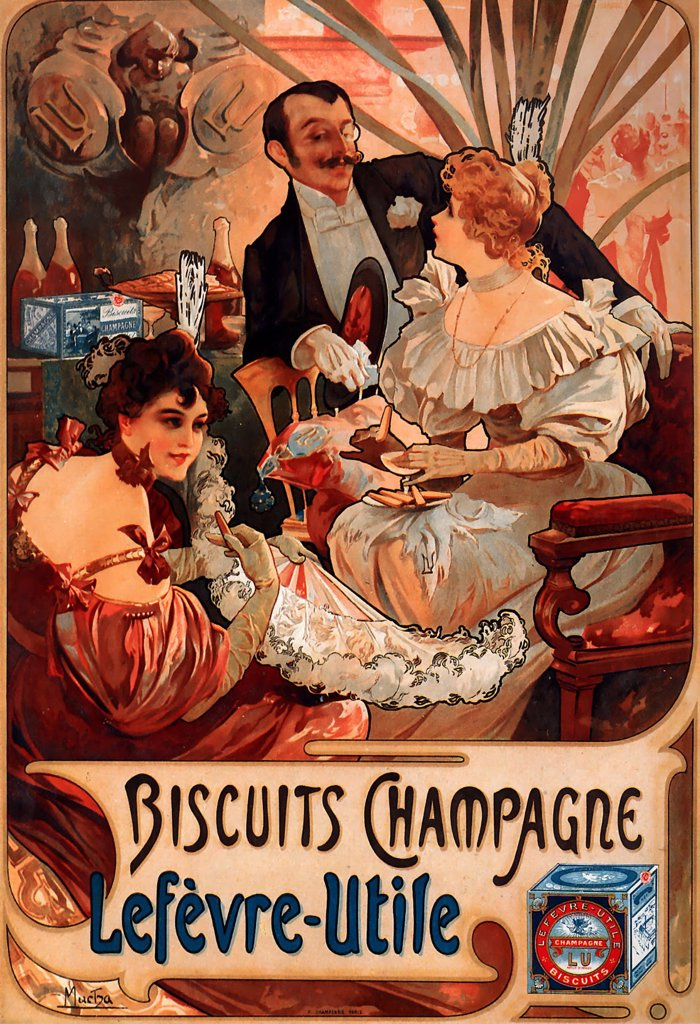 Stock Photo: 4266-4228 Biscuits advertising by Alfons Marie Mucha, Color lithograph, 1896, 1860-1939, Private Collection, 52x35, 5