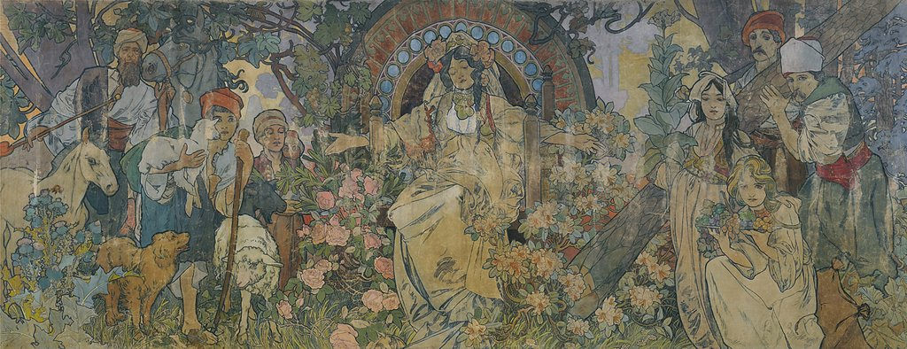 Stock Photo: 4266-4241 Rural scene by Alfons Marie Mucha, Tempera on canvas, 1900, 1860-1939, Czech Republic, Prague, Museum of Decorative Arts, 641x255, 7