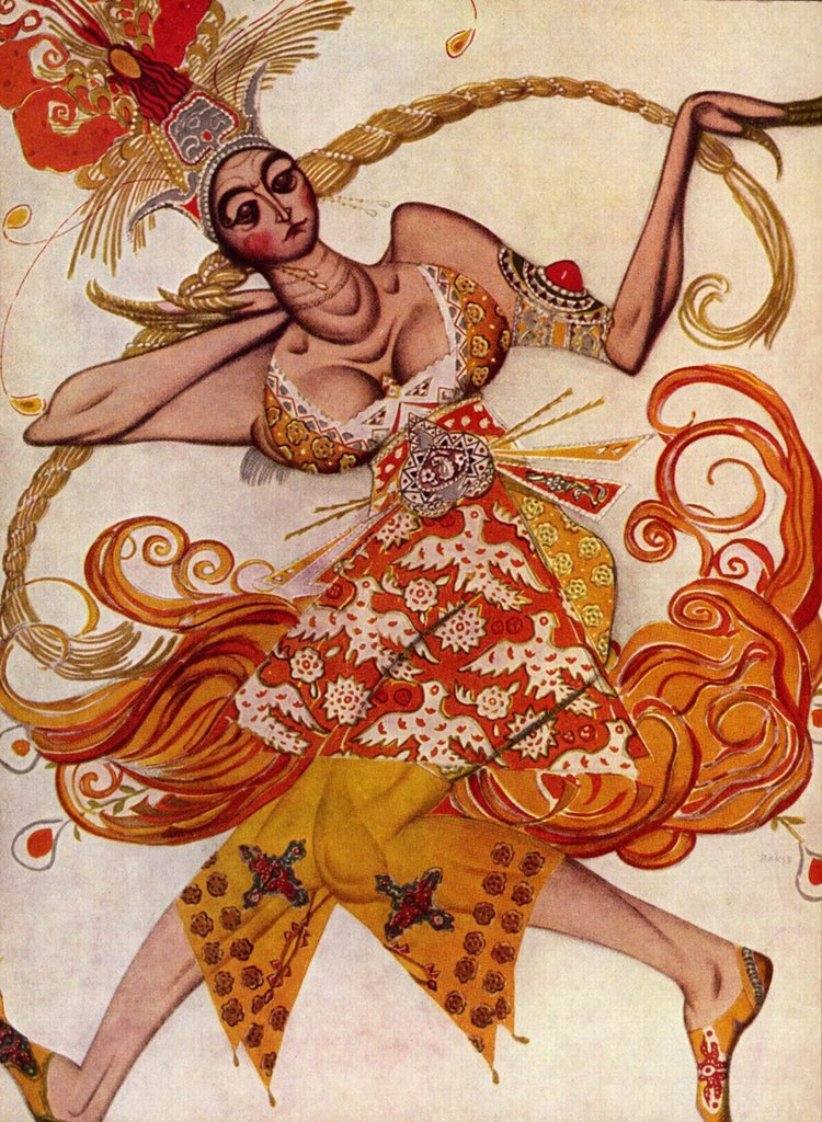 Stock Photo: 4266-4254 Fire Bird by Leon Bakst, Watercolor, gouache, gold und white colors on paper, 1910, 1866-1924, Private Collection