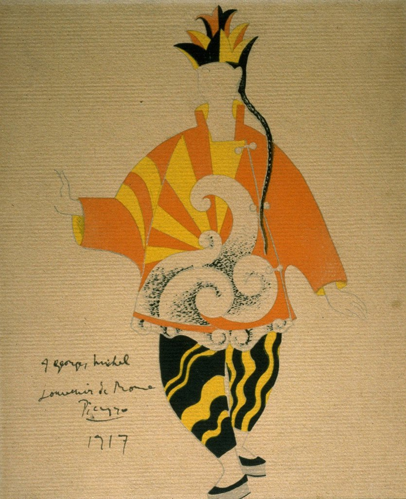 Stage costume by Pablo Picasso, Gouache on paper, 1917, 1881-1973, Private Collection : Stock Photo