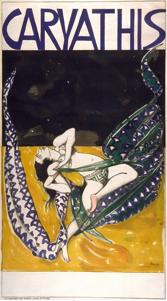 Stock Photo: 4266-4259 Caryathis by Leon Bakst, Color lithograph, 1919, 1866-1924, Private Collection, 223, 5x127