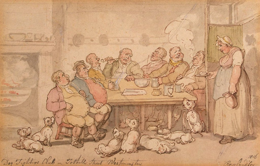 Stock Photo: 4266-4296 Men sitting at table by Thomas Rowlandson, watercolor on paper, 1816, 1756-1827, Russia, St. Petersburg, State Hermitage, 12, 2x18, 8