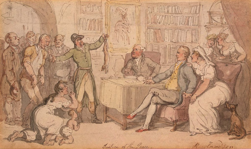 Court by Thomas Rowlandson, watercolor on paper, 1790, 1756-1827, Russia, St. Petersburg, State Hermitage, 11, 6x19, 5 : Stock Photo