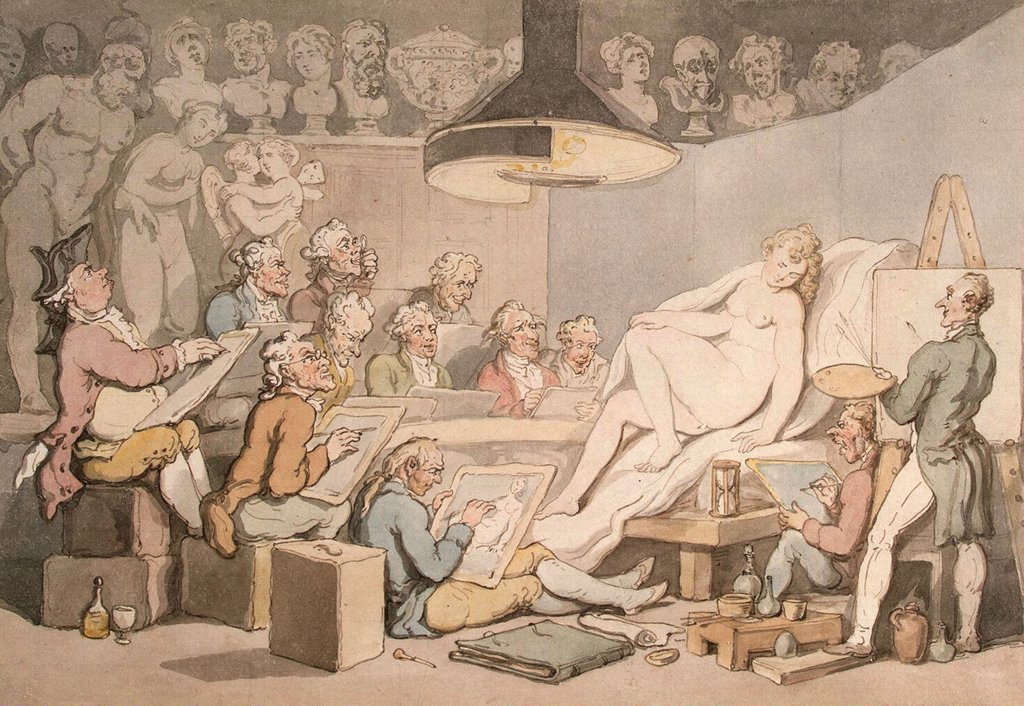 Men painting naked woman by Thomas Rowlandson, watercolor on paper, 1800-1810, 1756-1827, Russia, St. Petersburg, State Hermitage, 20, 3x29, 3 : Stock Photo