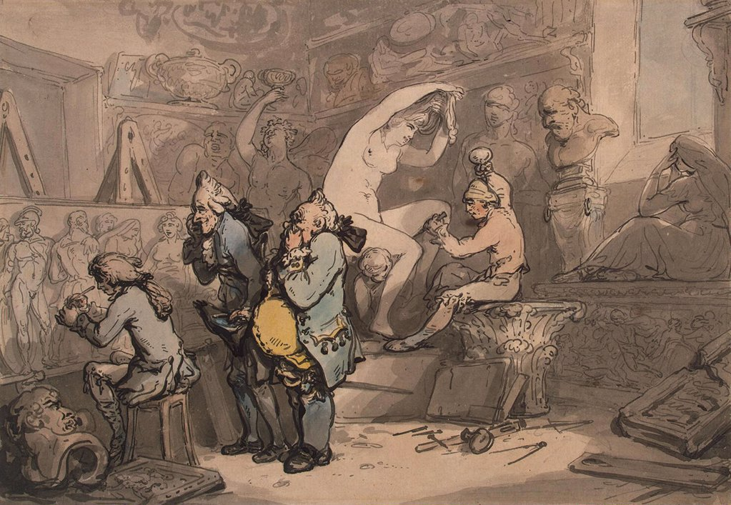 Stock Photo: 4266-4299 In workshop by Thomas Rowlandson, watercolor on paper, 1780s, 1756-1827, Russia, St. Petersburg, State Hermitage, 24x34, 5