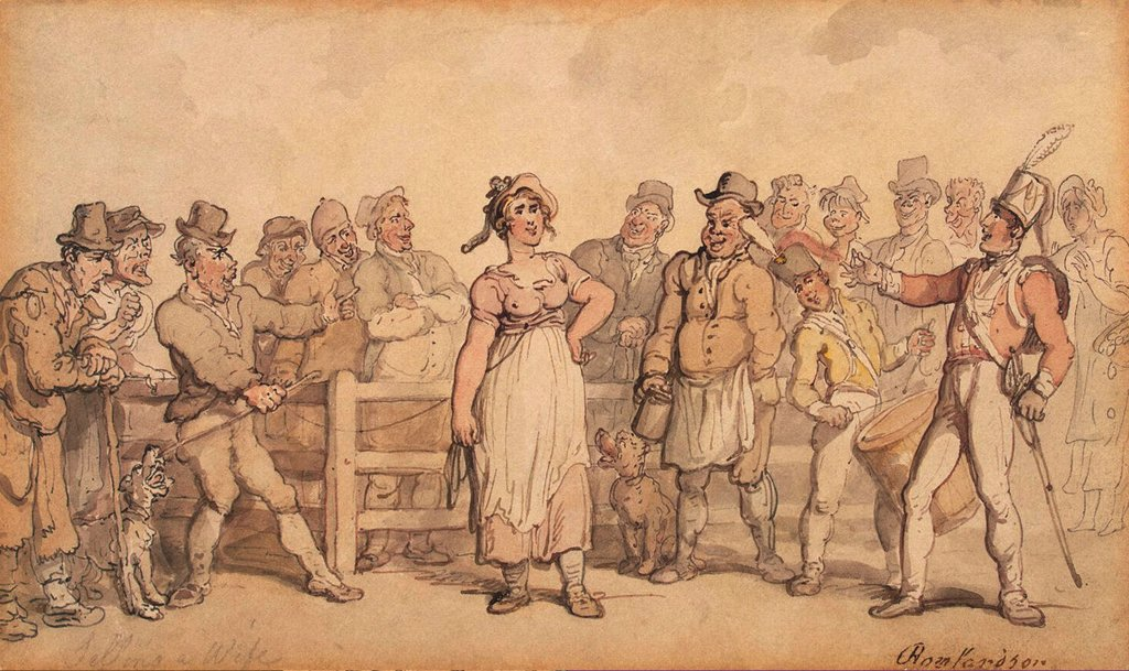 Soldier talking to woman by Thomas Rowlandson, watercolor on paper, circa 1814, 1756-1827, Russia, St. Petersburg, State Hermitage, 12, 2x20, 4 : Stock Photo
