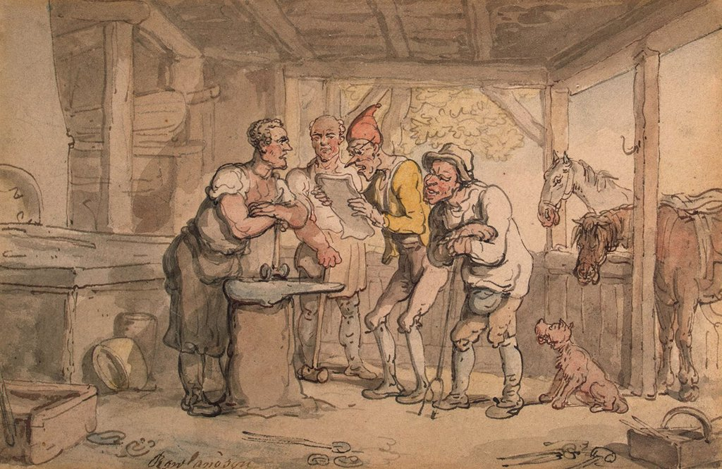 Stock Photo: 4266-4301 Blacksmith Shop by Thomas Rowlandson, watercolor on paper, 1784, 1756-1827, Russia, St. Petersburg, State Hermitage, 12, 6x19, 5